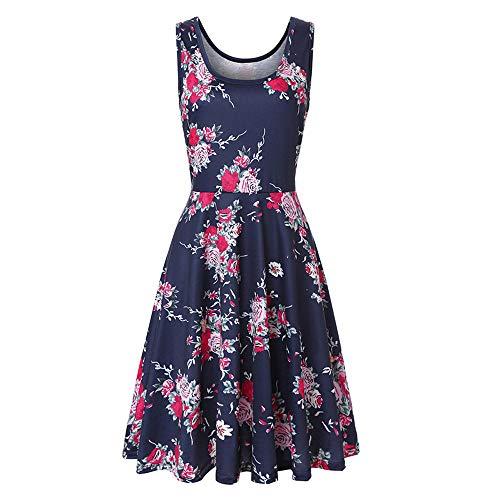 XuxMim Damen Elegant Ärmellos Rundhals Vintage Spitzenkleid Hochzeit Chiffon Faltenrock Langes Kleid(Dunkelblau-1,Medium) (Erstkommunion Kleider Für Erwachsene)