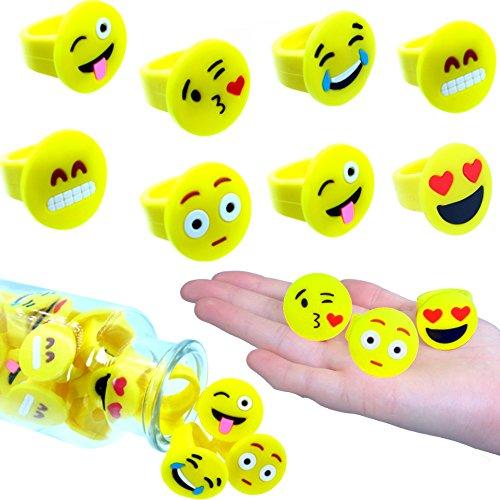 German-Trendseller ® - 6 x Emoji Ringe - Kinder Mix ┃ NEU ┃ Kinder ┃ Mitgebsel ┃ Kindergeburtstag ┃ 6 Stück