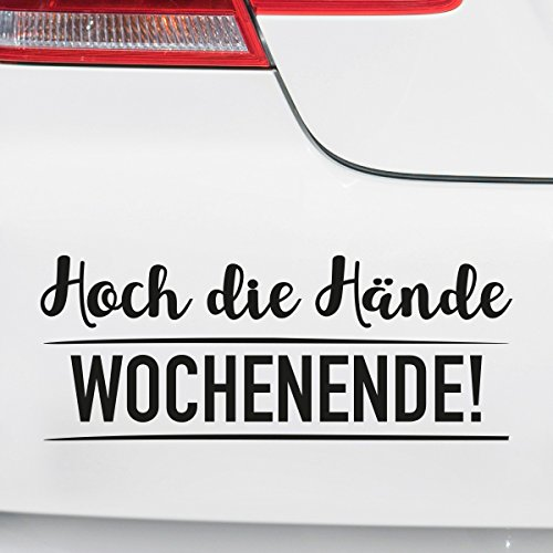 Motoking Autoaufkleber - Lustige Sprüche & Motive für Ihr Auto - Hoch die Hände Wochenende! - 17 x 6,6 cm - Lila Glänzend