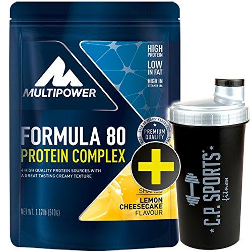 C.P. Sports Eiweiss Shaker gratis Multipower Formula 80 Protein Complex 510gr./Mehrkomponentenprotein/Eiweiß/Casein/Isolat/Proteinkonzentrat (Lemon - Cheescake)