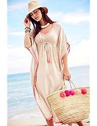qxj Bikini diseño de playa de gasa largo kimono Camisas con bordados, vacaciones vestidos mujer