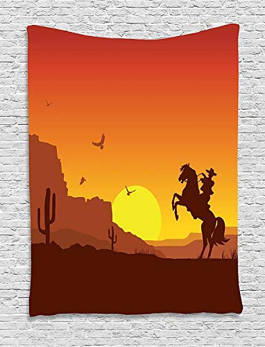 TRUIOKO Western Tapisserie, Rican Wild West Desert with Cowboy on Horse Sunset Cactus Arid Lands, Wall Hanging for Bedroom Living Room Dorm Wall Tapisserie Decor,80