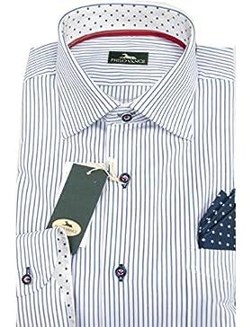 Camicia Uomo Bianca Riga Azzurra con pochette collo Italia - - 17½ 44