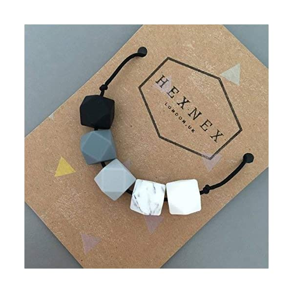 Monochrome Silicone Teething Necklace for Breastfeeding and Baby Wearing Nursing Jewellery BPA Free Hexagon Bead Black and White 3