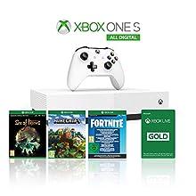 Xbox One S 1TB All Digital Edition Console + 1 Mese Xbox Live Gold + 3 Digital Games Inclusi (Sea of Thieves, Minecraft, Fortnite Legendary Evolving Skin & 2000 V-Bucks)