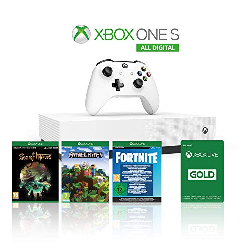Xbox One S 1TB - All Digital Edition Console + 1 Mese Xbox Live Gold + 3 Digital Games Inclusi (Sea of Thieves, Minecraft, Fortnite Legendary Evolving Skin & 2000 V-Bucks)