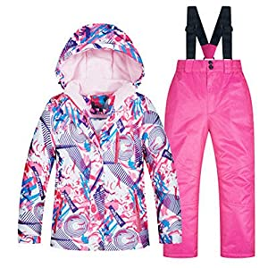 YDYL-LI Winter – Im Freien – Kinder Skibekleidung Anzüge – Mädchen Dicken Warmen Mantel – Regenjacke – Gurtzeug Windhosen, Rosa