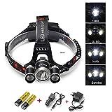 Frontale Luce,Rixow 5000 lumen 4 modalità 3 x LED Headlamp