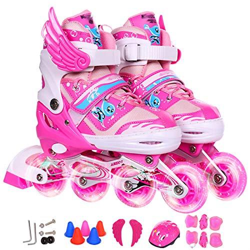 XINGF Geeignet Für Verstellbare Inline-Skates Für Kinder, Anfänger-Mode Mit Blinkenden Rollschuhen, Einreihige Rollschuhe Für Jugendliche,Pink-35EU-38EU