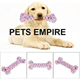 Pets Empire Dog Puppy Knot Ball Toy Bone Shaped Puppy Chewing Tooth Cleaning Molars Pet Play Toy For Small Breeds -1 Piece Color May Vary
