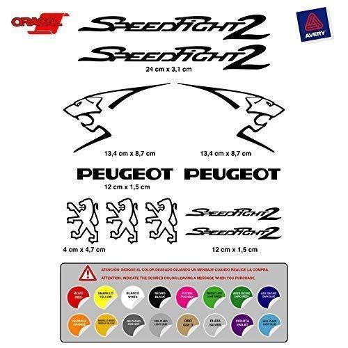 Pegatina Adhesivo Compatible con Peugeot SPEEDFIGHT2 Coche Moto Vinilo Troquelado (11 Unidades)...