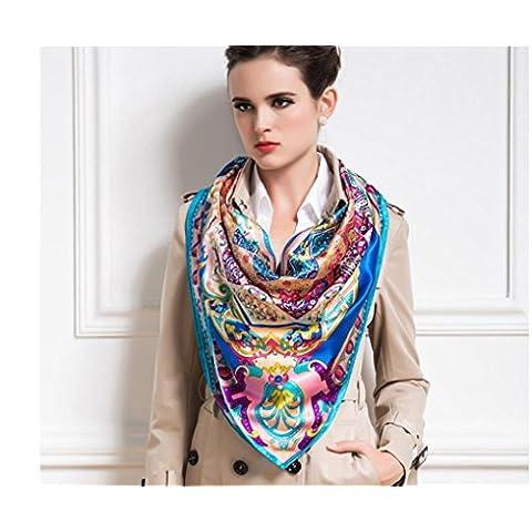 ZZHH Las mujeres flores y gráficos impresión 100% seda natural gran patrón mantón de la bufanda . c