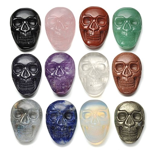 JOVIVI XG-35*25mm Pierre Naturelle Energie Precieuse Gravure Sculpture Worry Stone Tete de Mort Crane Plat Punk Rock Feng Shui Tibetain Bouddhiste Maison Decoration Bibelot + Coffret Cadeau 12PCS/Set
