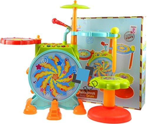 BSD Interactive Schlagzeug Jazz Drum für Kinder - Steinbach Kinderschlagzeug - Schlagzeug mit Trommeln, Hocker und 2 Trommelstöcken - Schlagzeug Drumset - Kinder Trommel