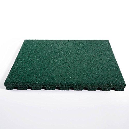 fallschutzmatten spielplatz etm Fallschutzmatte für Außenbereich | Unterseite mit Drainage | Größe 50x50 cm | TÜV geprüft | Fallschutz mit Stärke 25 oder 43 mm | Grün (25 mm)
