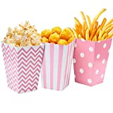 Comius Popcorn Boxen, 36 Stück Popcorn-Boxen Streifenmuster Punktmuster WellenmusterDekoratives Geschirr Candy Boxen Behälter (Rosa)