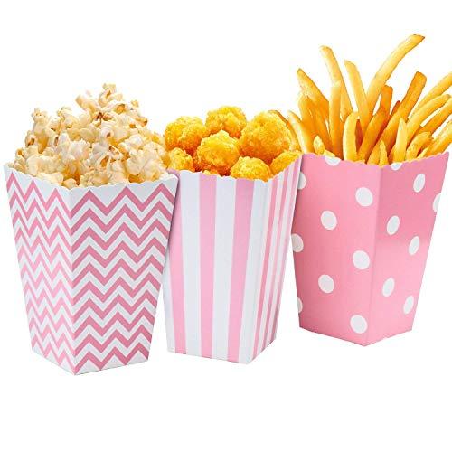 Comius Cajas de Palomitas, 36 Pcs Caja de Cartón de Popcorn Envase de Caramelo Contenedor para Los Bocados del Partido, Los Dulces (Rosado)
