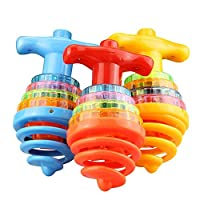 BSGP 1PC Flashing Rotating Spinning Toy with LED Light and Music Dazzling Gyro Peg-top Toys Gift for Kids , Random Color