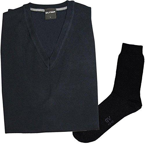 Olymp Strick Pullunder - Merinowolle, V-Ausschnitt, marine + 1 Paar hochwertige Socken, Bundle Marine