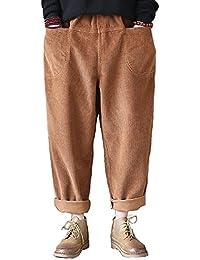Aeneontrue Femmes Décontractée Velours côtelé Pantalon Carotte Poches Avant  avec Taille élastique 3073731e249