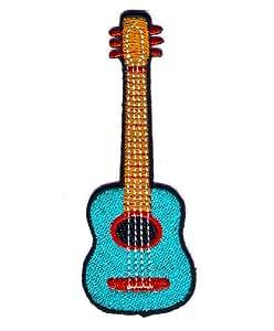 Akustik-Gitarre Flamenco Logo Sign Symbol Emblem gesticktes Eisen auf Patch zum Aufbügeln Stickerei