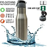 Frabble Stainless Steel Water Bottle Chromo Silver Matt Finish Water Bottle Sipper Shaker , BPA Free Leak Proof Multipurpose Ideal To Store Water & Other Beverages For Gym , Sports , Fridge , Office , Yoga , Travel , School , College ( 750 Ml Set Of 1