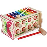 Heo Duluxe Wooden Pounding and Hanmmering Bench, Whack-a-mole with Xylophone, Early Development Toy,Parent-Child Interaction Toy (Butterfly)