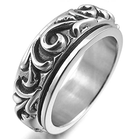 Epinki,Fashion Jewelry Men's Stainless Steel Rings Silver Moving Embossed Vintage Size V 1/2