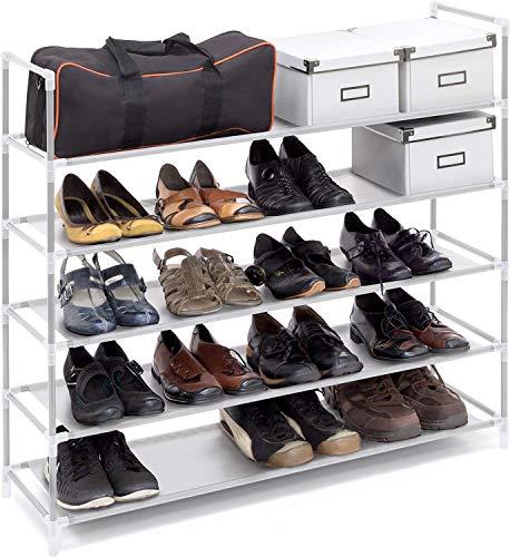 Relaxdays Schuhregal mit 5 Ablagen, Schuhablage für 20 Paar Schuhe, beliebig erweiterbar, HxBxT: 90,5x87x29,5 cm, weiß