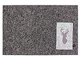 Luxflair Schönes 4er Set Filz Platzset in dunkelgrau mit edel bestickter Bestecktasche Motiv Hirsch, waschbar. Viereckiges Designer Tischset für Innen & Außen