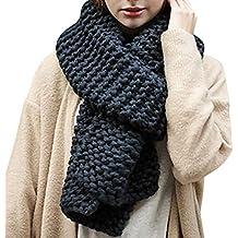 97f8308cf37 Manuelle Écharpe Épaisse Tricot Vintage Foulard Grosse Maille Chaud Couleur  Unie Automne Hiver Femme
