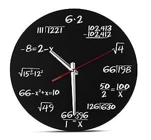 GUAZ Orologio a muro di matematica - Orologio da parete unico - Ogni ora contrassegnata da un'equazione di matematica semplice