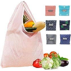 Meowoo Sacs de Courses Polyester Sac à Provisions Réutilisable Sacs de Courses Lavable en Machine Pliable Sac Legumes et Fruit (6pcs)