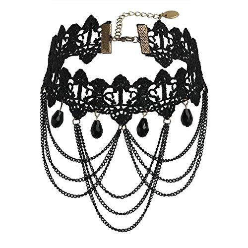 Beydodo Edelstahl Halsketten für Frauen Mädchen,Choker Halskette Fabric Handgefertigt Resin Halsband Bib Lace Schwarz 8X14.3X32CM Biker-bib