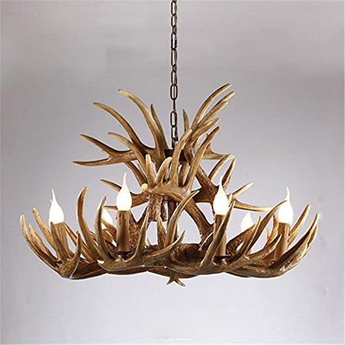 (Joeyhome Geweih Harz Kronleuchter Lampe Moderne LED-Geweih Kronleuchter Lüster Kronleuchter E14 Vintage Lichter Neuheit Beleuchtung, Braun 9 +6 Waffen)