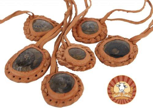 Gusti Cuir nature collier bijoux en cuir accessoires chaine en cuir pierre fossile vintage femme A1