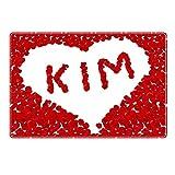 Tischset mit Namen ''Kim'' Motiv Rosenherz - Tischunterlage, Platzset, Platzdeckchen, Platzunterlage, Namenstischset