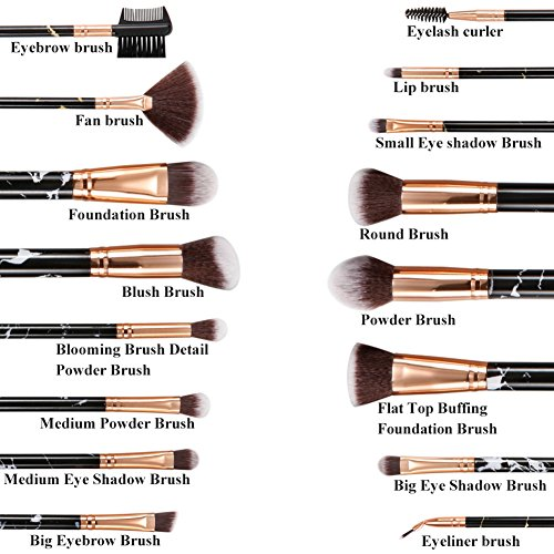 Makeup Brushes Gee-rgeous 16 Pcs Magic Marble Premium Synthetic Professional Makeup Brushes Set with Powder Concealer Eyeshadow Eyebrow Eyeliner Kabukit Brushes Set Black