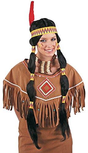 Indianerin Squaw Perücke für Damen - Zöpfe mit Stirnband und Feder zum Wilder Westen Kostüm.