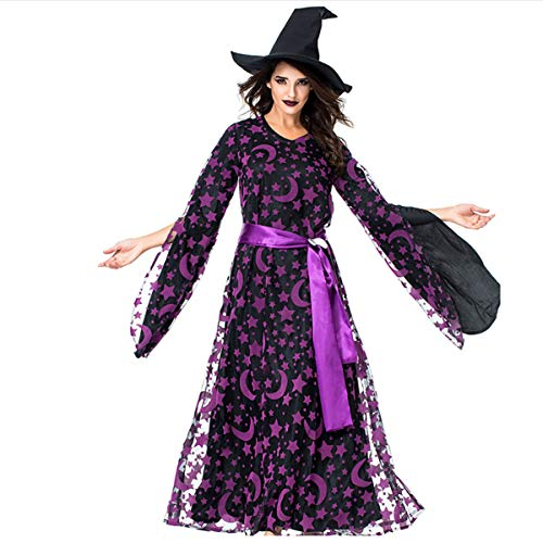 W&TT Halloween Girl Purple Star Moon Magic Lange Ärmel Hexen Kleid Eltern-Kind Tragen Hut + Rock + Belt + Moon Accessoires,Aduit,M