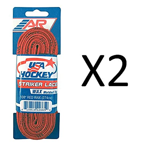 A&R Striker Ice Hockey Waxed Skate Laces Pro Heavy Duty Lace Red 108