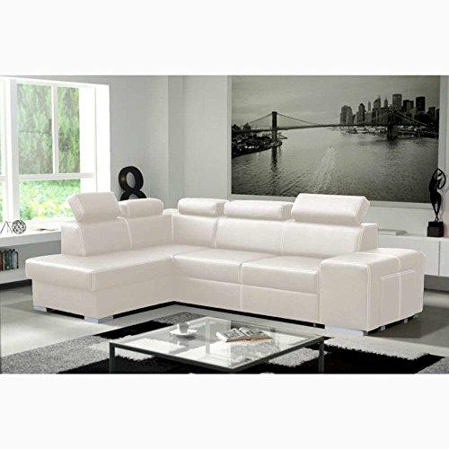 Justhome lorenzo divano angolare divano letto vera pelle (lxp): 275x170 cm bianco penisola a sinistra