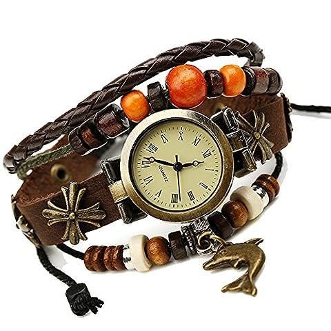 Fashion Retro Punk Handmade Bracelet Dolphin Pendant Leather Strap Quartz Men Women Wrist Watch, Brown