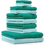 10 tlg. Handtuch Set Premium Farbe Smaragd Grün & Türkis 100% Baumwolle 2 Duschtücher 4 Handtücher 2 Gästetücher 2 Waschhandschuhe