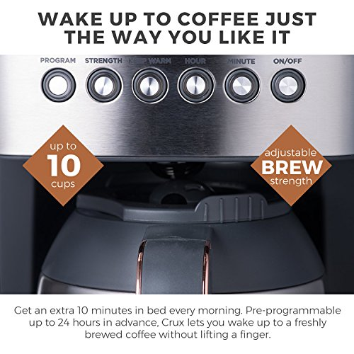 51veazBJlzL. SS500  - CRUX Instant Ground Electric Hot Coffee Maker Machine Kit - Pre-Programmable Settings - 10 Cups, Self Cleaning - Auto…