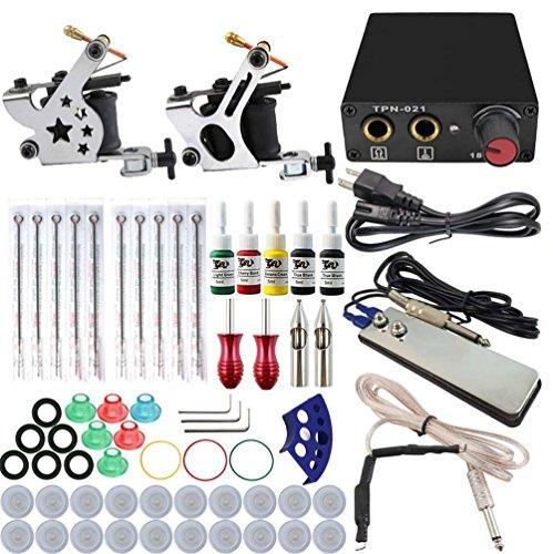 MZP Beauty Tattoo Maschine Starter Kit 1 Gusseisen Maschine Liner & Shader Professionelle Hochwertige Mini-Netzteil 1 X Edelstahl Griff 10 Stück,Auadapter Duplex Motor