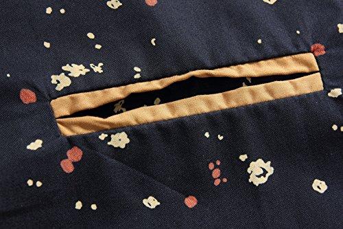 SSLR Herren Druckmuster Freizeit Kurzarm Hemd Blau