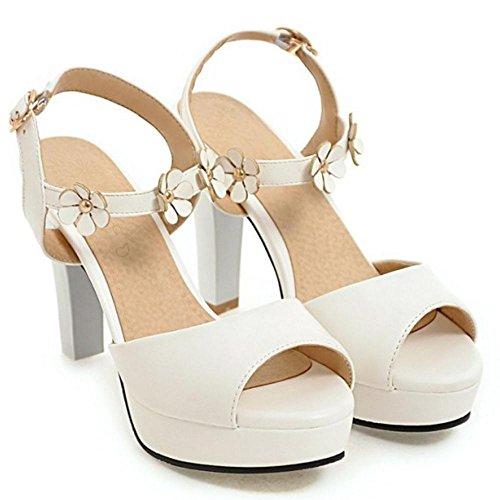 RAZAMAZA Femmes Peep Toe Sandales white