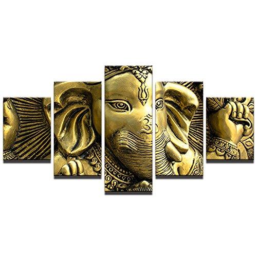 HOMOPK 5 Stücke Malerei Modulare Tapete HD Druck Auf Leinwand Wandkunst Wasserdicht Poster Bad Wohnzimmer Wohnkultur Bild Indien-Elefant-Hauptgott Ganesha A,Rahmen