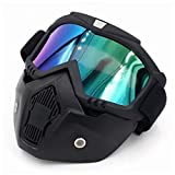 SODIAL Racing abnehmbarer modularer Helm von Motorrad schuetzende Gesichtsmaske Schild Farblinse